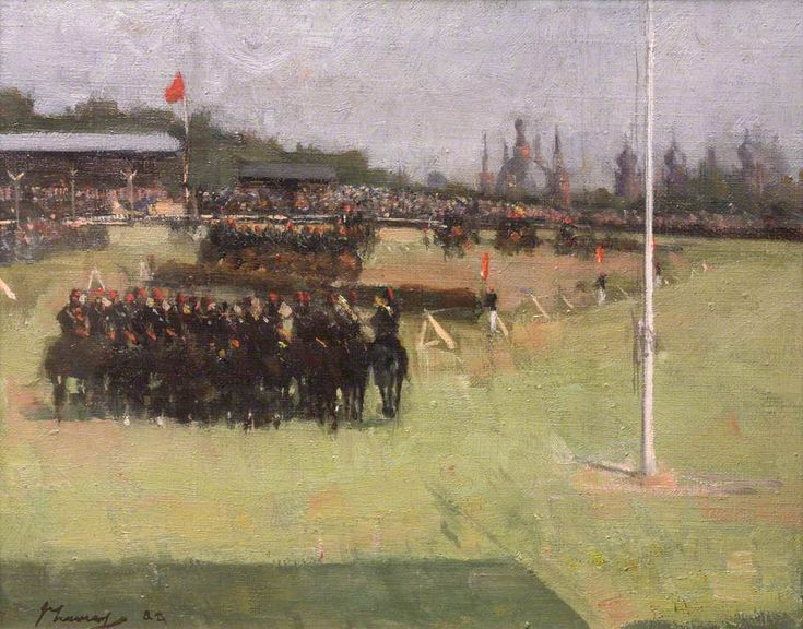 John Lavery - The Musical Ride of the 15th Hussars during the Military Tournament at the Glasgow International Exhibition, 1888