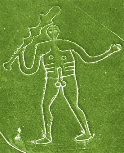 Its not only horses which adorn the chalk hills of england.  The Cerne Abbas Giant is the most interesting giant in england and its obvious why people for centuries have believed he is connected with fertility.