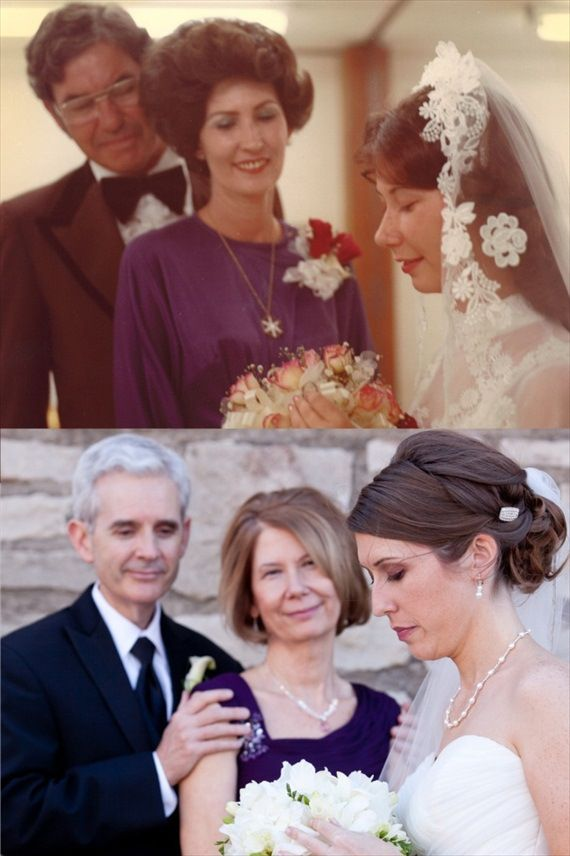 Recreate a photo from your parents' wedding day! | http://emmalinebride.com/how-to/thank-parents-at-your-wedding/