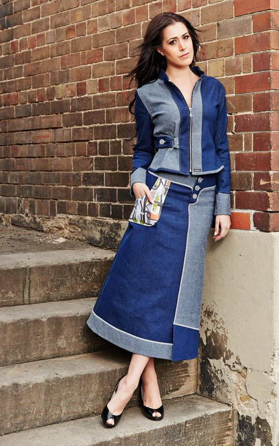 Stretch denim skirt with art print feature pocket and jacket