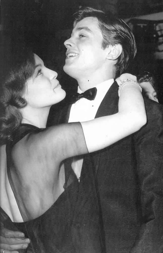 #RomySchneider and #AlainDelon by  at a New Year's Eve party in Paris circa 60's