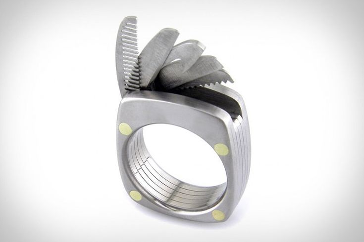 Titanium Utility Ring - contains a bottle opener, straight blade, serrated blade, saw and a comb.  $385  Huh.