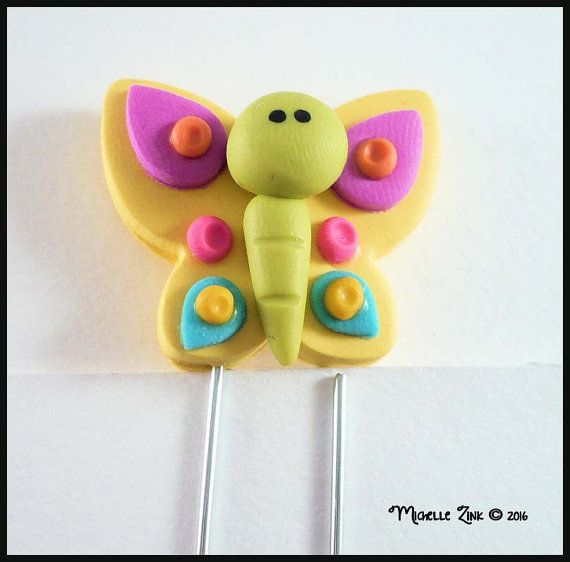 Planner Clip Yellow Butterfly Polymer Clay by michellesclaybeads