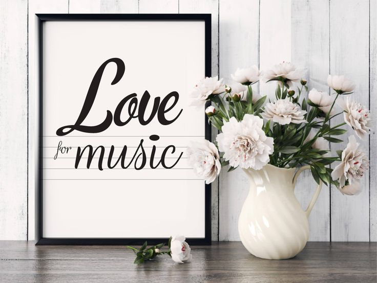 """Poster """"Love for music"""", Beautiful poster, Modern text, Gift idea, Housewarming Gift, Home decor, Love music, Art Poster, note, music staff by MerryGallery on Etsy"""