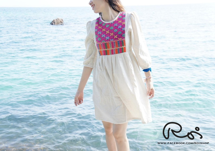Pre-order our unique dress now. The dress is made of 100% natural cotton and hand-made Karen hill tribe weaving fabric. www.facebook.com/roishop