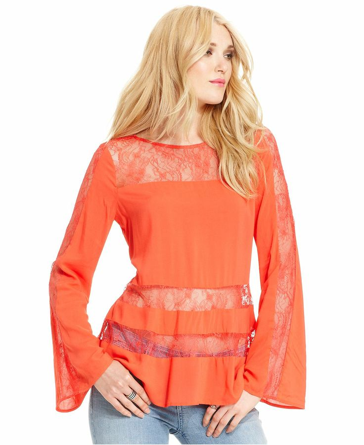 GUESS Top, Long-Sleeve High-Neck Lace Blouse - Tops ...