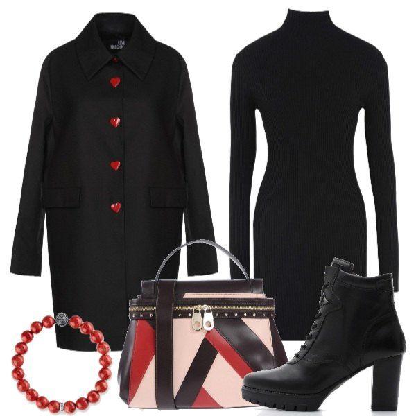 superior quality bd327 68439 Outfit composto da abito dolcevita in maglia, cappotto nero ...