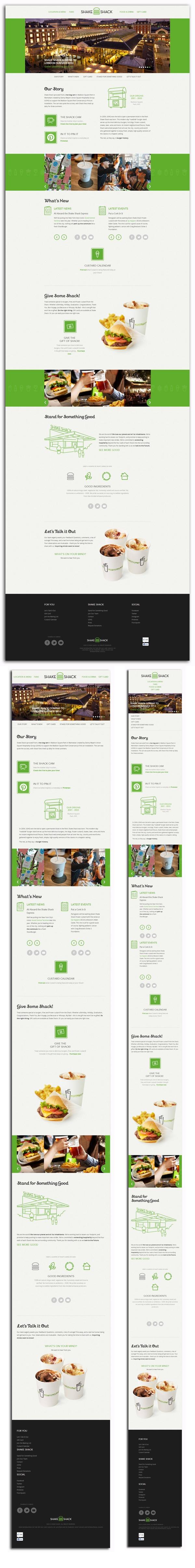 shakeshack.com Diseño: 5  Responsive: 5  Navegación: 4  Contenido: 3  Usabilidad: 3