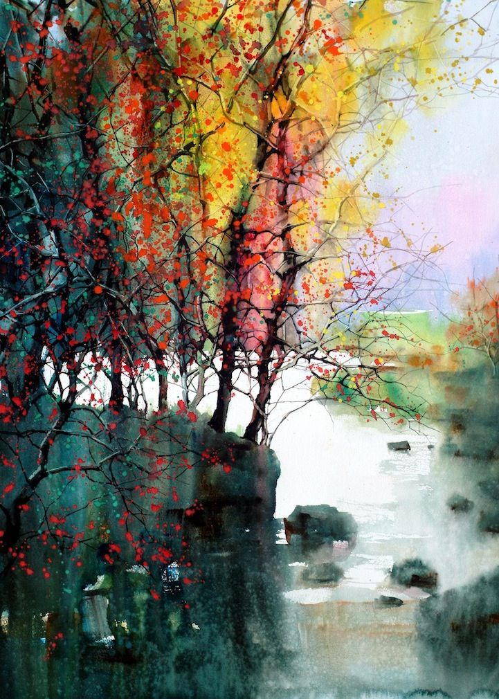 crispy autumnArtists, Watercolors Landscapes, Inspiration, Colors Art, Feng, Trees, Design Art, Artwork, Watercolors Painting