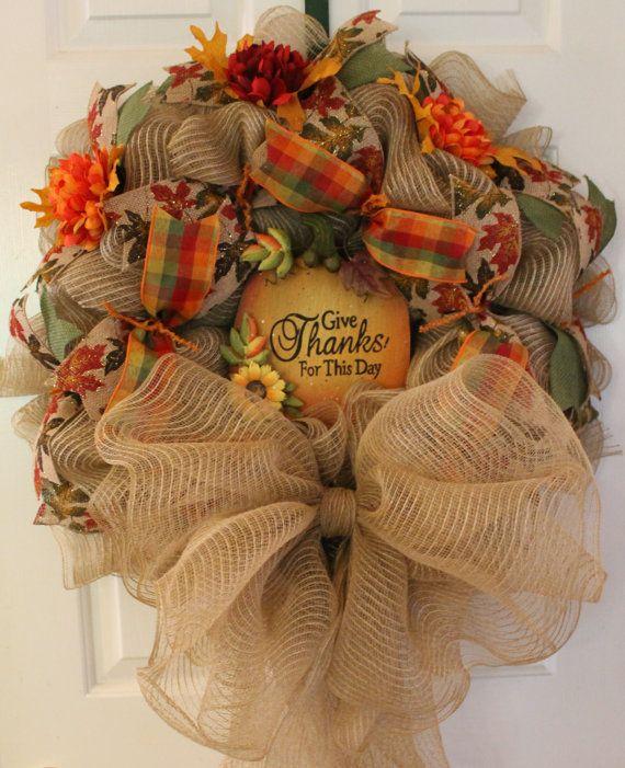 Wreath, Fall Wreath, Autumn Wreath, Thanksgiving Wreath, Pumpkin Wreath, Deco Mesh Wreath, Holiday Wreath on Etsy, $85.00