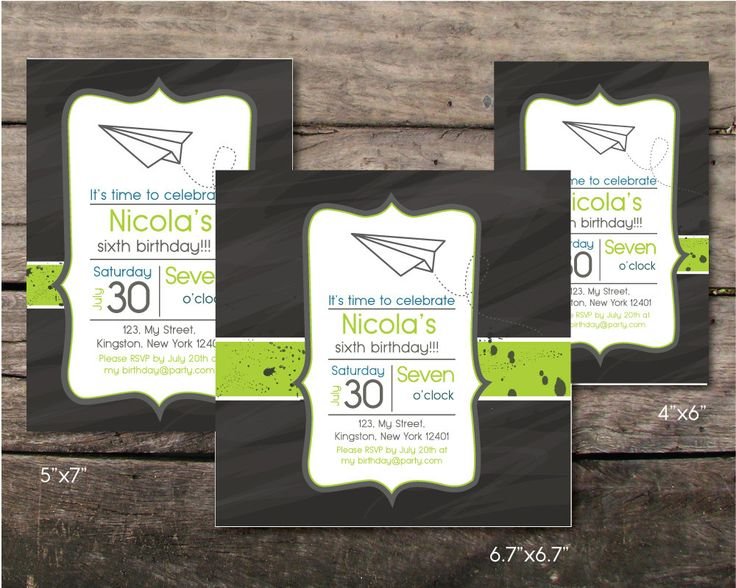 Printable and printed origami airplane birthday baby party invitation, sixth birthday boy, paper and party supplies, design, boy invitation by BeePrintDesigns on Etsy