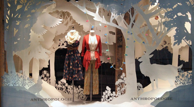 Anthropologie Holiday 2012 Store Window displays.Love the depth with the cutouts and lights.