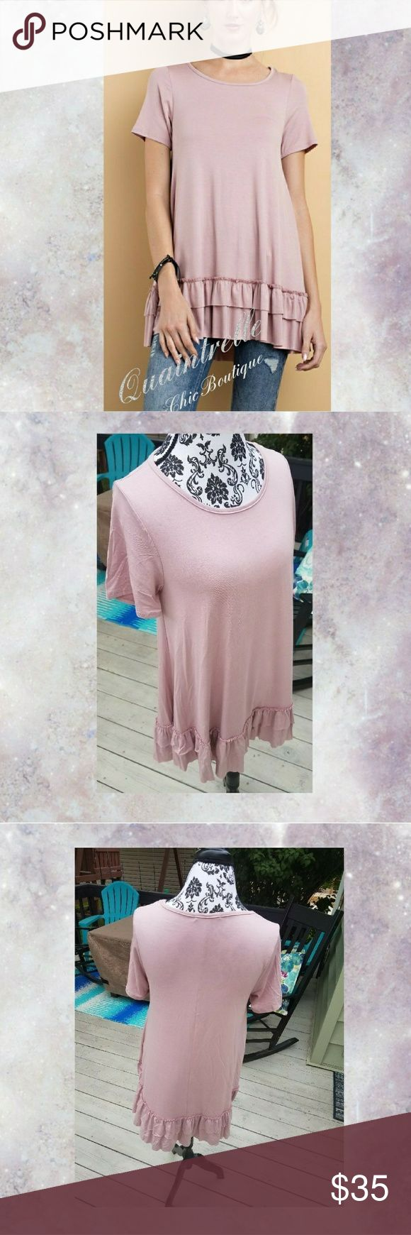 "🆕GENACHE RUFFLES TUNIC Indulge yourself in the decadence of this double ruffle tunic. Short sleeves and a round neck lead into a loose  flowing body trimmed with a raw edge of double ruffles. Made of soft, heavy rayon span fabrication. Available in Dusty Mauve and Cloud Grey. Measurements laying flat: S- Bust 16"" Length 29.5"" M- Bust 17"" Length 30.5"" L- Bust 18"" Length 31.5"" Tops Tunics"