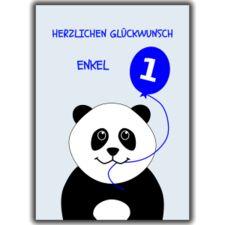 Animal birthday age cards young relations. Panda card for grandson: Herzlichen Glückwunsch Enkel.