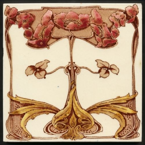 TH2713-Stunning-Original-Floral-Art-Nouveau-Print-amp-Tint-Tile-Marsden-c-1905