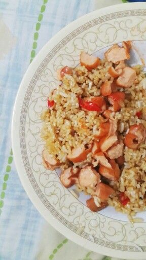 Nasi goreng Sosis. Fried Rice with Sausage.