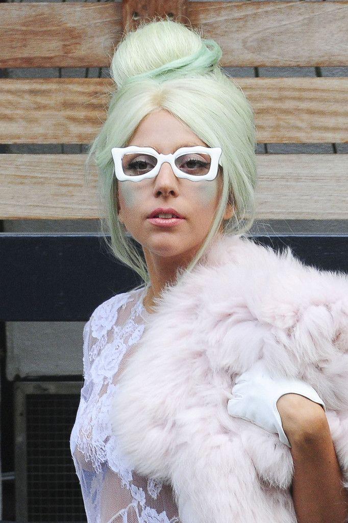 Lady Gaga wears white 80s frames from General Eyewear's 790-995 series. Photo taken in London on Oct. 5, 2011.