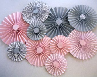 Pink and Gray Rosette Centerpieces Pink by BeautifulPaperCrafts