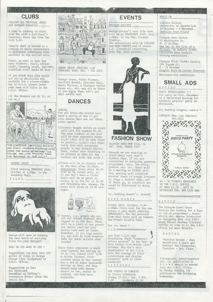 Archive reference: DC/9/4/1 Page 2 of BLANK, Issue 3, student newsletter published by SRC, 1984-5