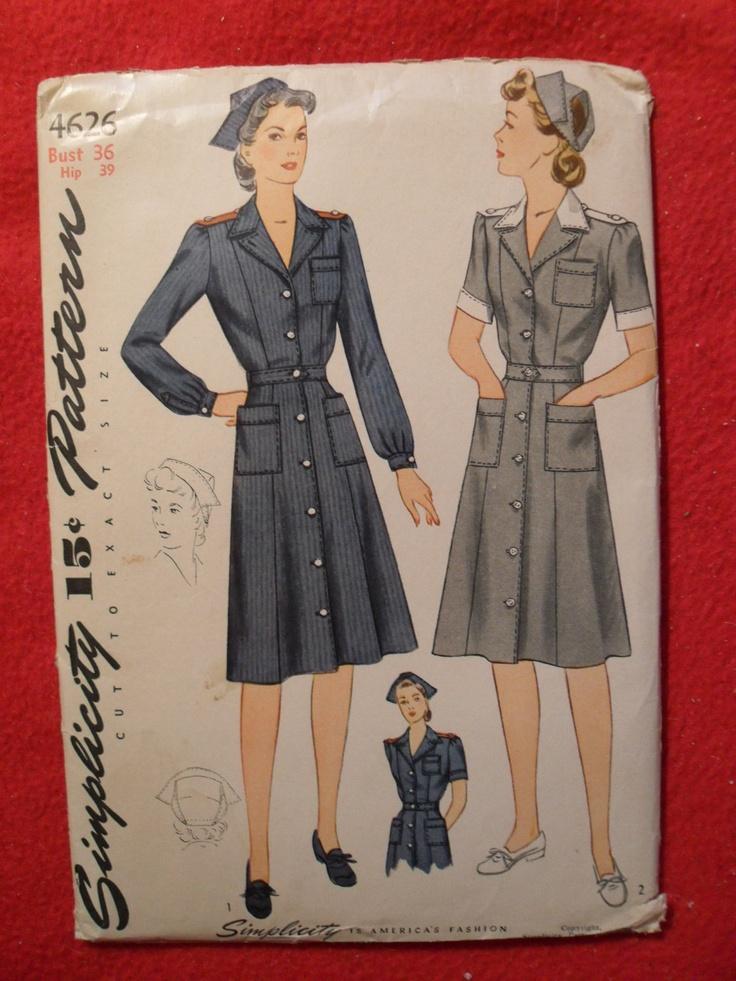 Vintage Simplicity pattern 4626 American Red Cross Volunteer Special Service Corps uniforms