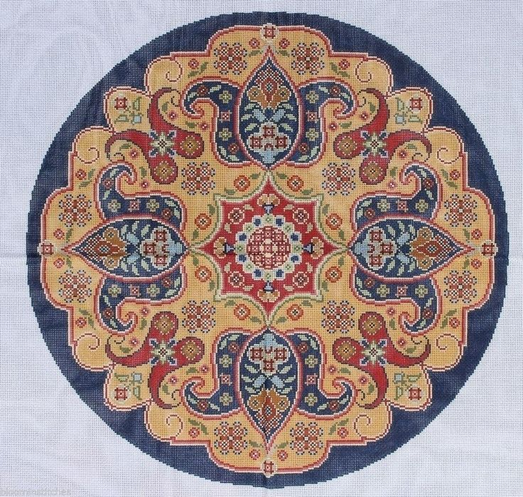 Canvasworks PO54AR Kirman Round Hand Painted Needlepoint Canvas | eBay