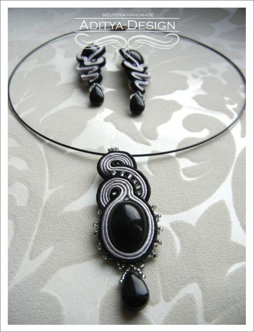 Soutache Jewelry Set, Soutache Earrings Pendant, Black Earrings, Black Gray, Handmade Jewelry, Statement Jewelry, OOAK Jewelry, Medusa Model by AdityaDesign