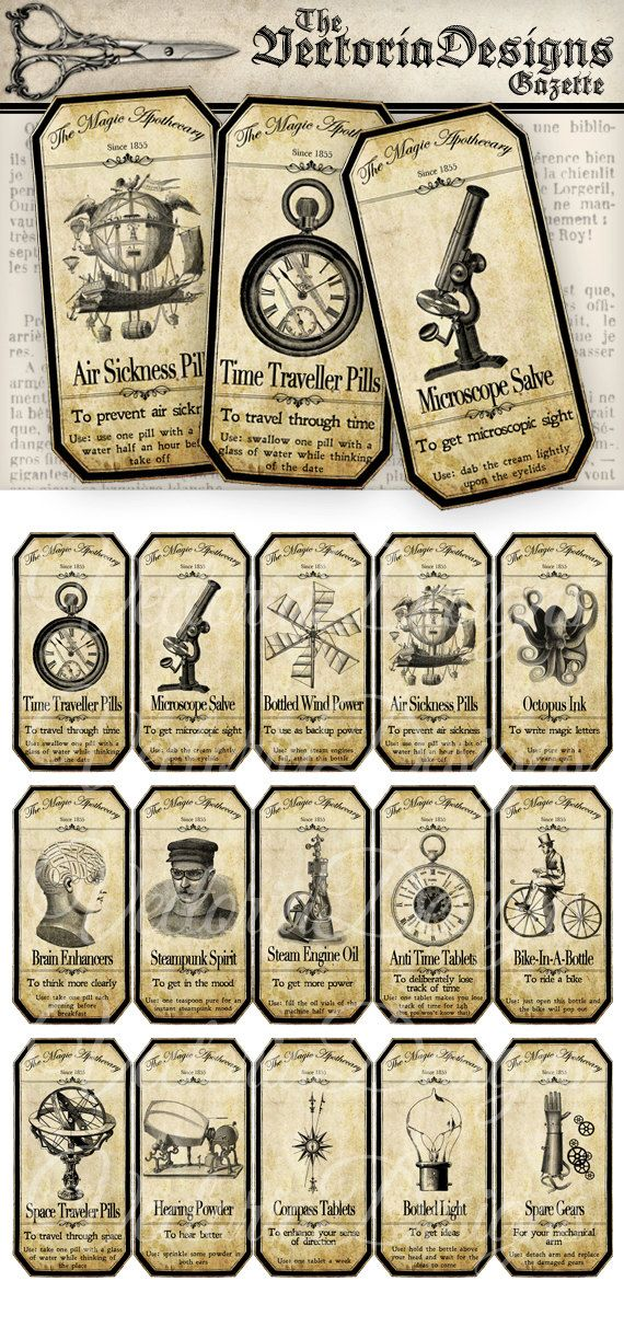 Magic Steampunk Apothecary Labels - an inspiring collection of different steampunk bottle and jar labels for Halloween. Put them on regular