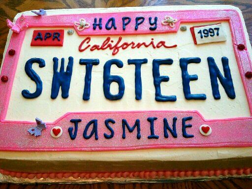 Girly custom pink license plate themed half-sheet cake