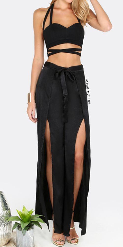 Waist Tie Slit Pants BLACK