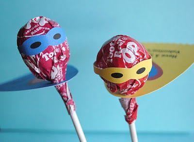 Super Hero Tootsie Pop valentines