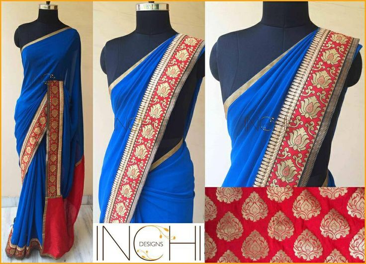 Code: ID0162 Price: Rs. 3995  Blue georgette sari with red brocade border, black-gold border and red pallu Blouse: Red brocade (1 metre)  To purchase this sari, please send a confirmation mail to inchidesigns@gmail.com