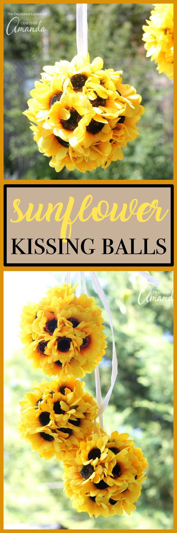 These sunflower kissing balls would make the perfect addition to any wedding, bridal shower, baby shower, party, or to hang in your home or porch!