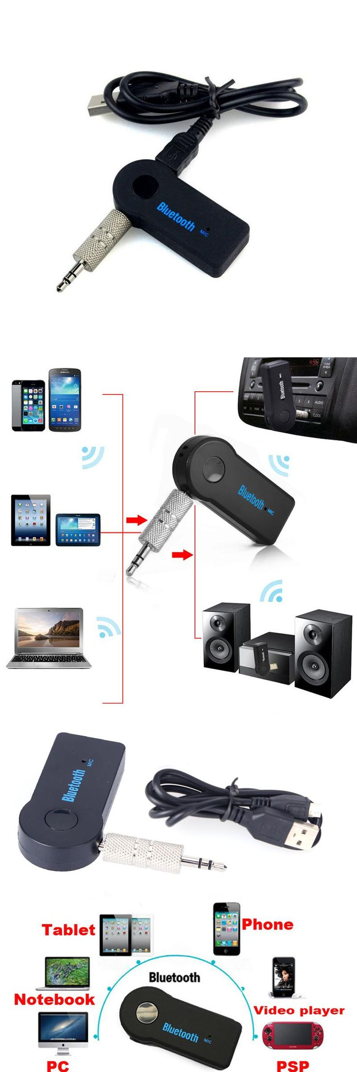[Visit to Buy] Car Bluetooth Receiver Universal 3.5mm Streaming A2DP Wireless Auto AUX Audio Adapter With Mic For iphone Bluetooth Car Kits #Advertisement