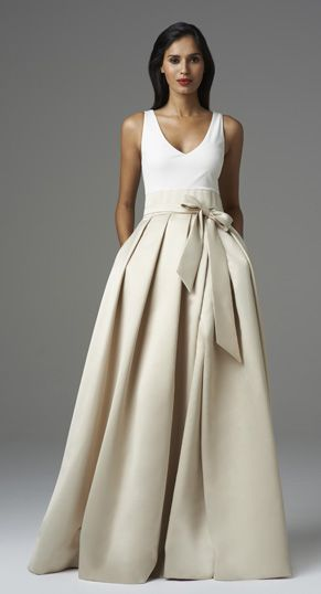 Aidan Mattox Spring 2014 // Style#: 457680 Colors: Ivory/Champagne, Ivory/Twilight Description: Sleeveless Gown w/ Jersey Bodice & Satin Skirt