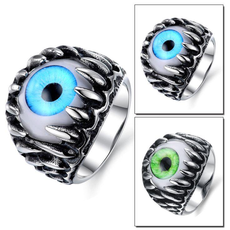 Gothic Rock Vintage Retro Black Silver Stainless Steel Cat's Eye Ring For Men
