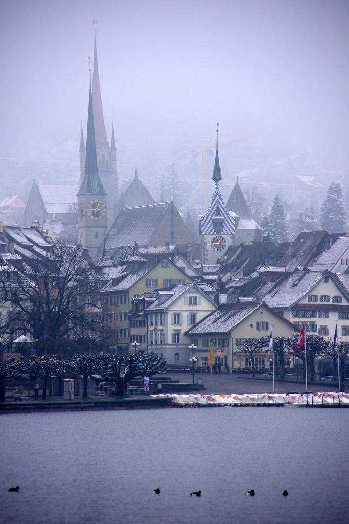 Misty lake-side view, Zug, Switzerland (by armxesde)