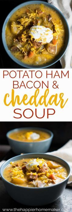 Cheesy Bacon Ham Potato Soup is the ultimate in comfort foods made all the better when cooked in the slow cooker. The perfect crockpot soup recipe for fall and winter! #recipe #comfortfood #SlowCooker