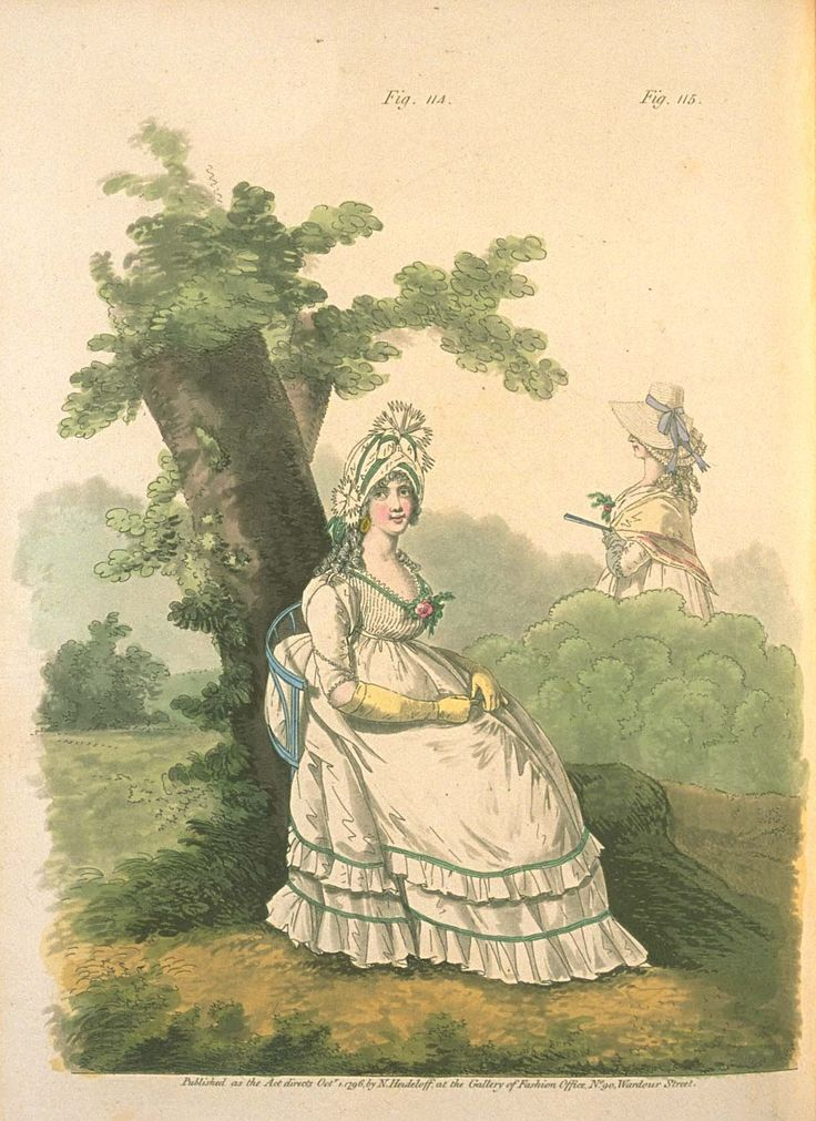 Gallery of fashion October 1796 - Morning dresses
