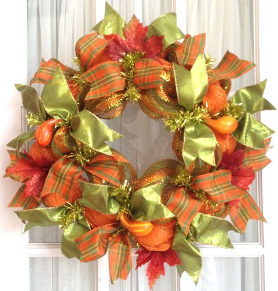 Deco Mesh Wreath home flowers autumn fall porch wreath entryway fall decorating