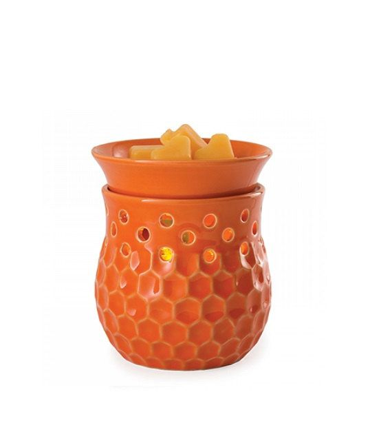 Unique Home Decor - Wax Melter, Candle Warmer - Orange Honeycomb Pattern - Large Electric Wax Glimmer Warmer - Wax Burner - Country Decor