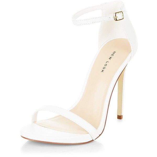 New Look White Leather Ankle Strap Heels ($51) ❤ liked on Polyvore featuring shoes, pumps, white, open-toe pumps, white pumps, new look shoes, white high heel shoes and open toe shoes