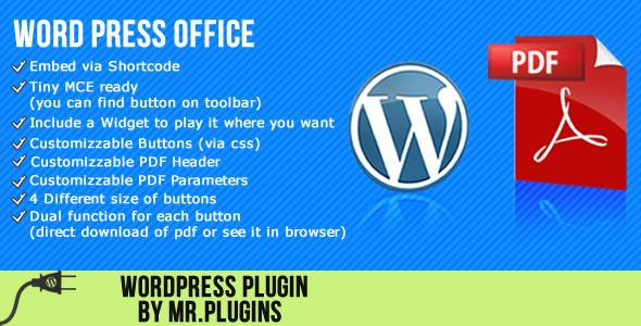"""Word Press Office   http://codecanyon.net/item/word-press-office/3408117?ref=damiamio          What is """"Word Press Office""""?   """"Word Press Office"""" is a simple plugin that allows your clients to see or download the pages or posts of your blog like a PDF Udates 16-January-2012   fix – delete the javascript tag into printed pdf  18-November-2012   Font size option added  font direction option (RTL LTR) ,for arabic and persian language, added   13-November-2012   Fix some problems when a post or…"""