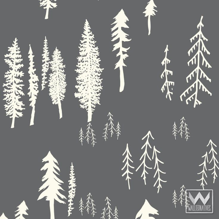 Cute Boys Room Decor Ideas - Bonnie Christine Designer Patterns with Rustic Tree Forest - Wallternative Removable Wallpaper