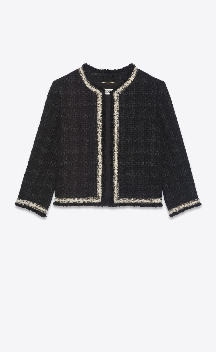 short jacket in check wool and silk tweed | Saint Laurent Canada | YSL.com Ysl, Tweed Shorts, Passementerie, Striped Turtleneck, Double Breasted Jacket, Work Wear, Yves Saint Laurent, My Style, Coat