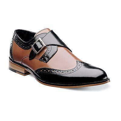 Stacy Adams Mens Tan Black Stratford Leather Monk Strap Trendy Slip Dress Shoe