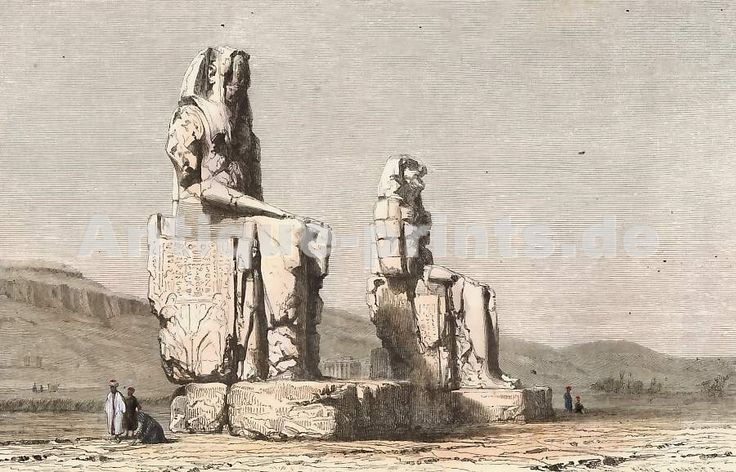 Colosses De Memnon, Egypt. Original wood engraving drawn by J. Ouartlev, engraved by Karl Girardet. 1860.