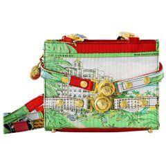 Gianni Versace Couture Vintage Bag Scarf Print Miami Beach Motif  Mint