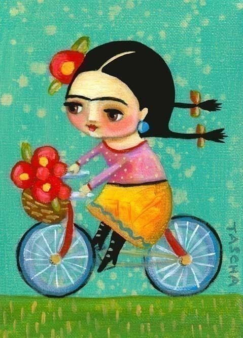FRIDA KAHLO on her red bicycle PRINT of tascha painting by tascha, $15.00