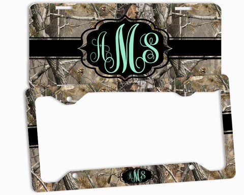 Mint Camo Black License Plate Frame Monogrammed Car Tag Personalized ...