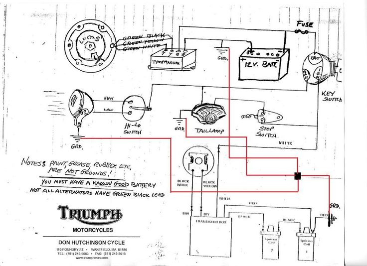 triumph wiring diagram with boyer triumph 650 wiring